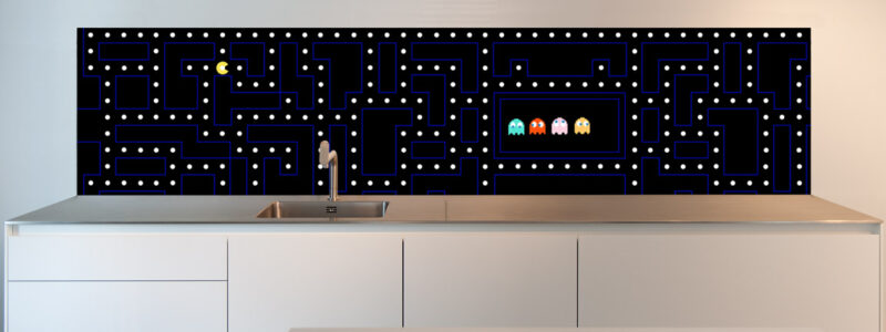 A Pacman retro kitchen design. Turn your Kitchen into an eye-catcher with this Pacman design.