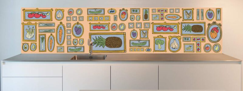 Kitchen wall painting graphic food design